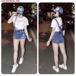 Quần yếm jean short rách bụi bặm sành điệu aQYB146