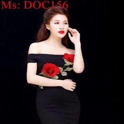 Đầm om bẹt vai ngang hoa hồng dễ thương phối đuôi cá DOC156