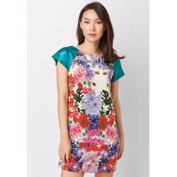 Đầm suông in hoa tay phối màu - Xanh - CIRINO