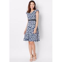 Đầm Xòe Vintage họa tiết hoa văn xanh CIRINO