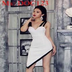 Đầm ôm 2 dây cúp ngực xéo tà phối viền đen phong cách DOC123