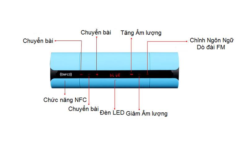 Loa nghe nhạc bletooth giá rẻ NFC gắn sim thẻ nhớ PKCB-8800 6