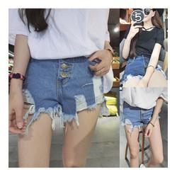 quần short jeans tua nhiều nút Mã: QN699 - XANH NHẠT