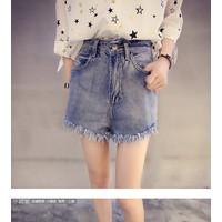 quần short jeans lưng cao tua Mã: QN697 - XANH