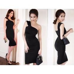 Đầm ôm body lệch vai cổ chéo Ngọc Trinh sang trọng - AV5084