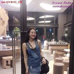 Váy yếm Jean rách form suông bụi bặm dễ thương QYB152