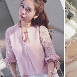 Hàng Thái Lan áo kiểu nữ cột nơ phối ren
