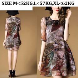 [FUNNY] Đầm Suông Họa Tiết Chim Công
