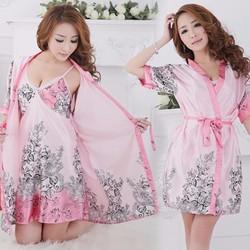 Đầm ngủ 2 dây kèm áo choàng