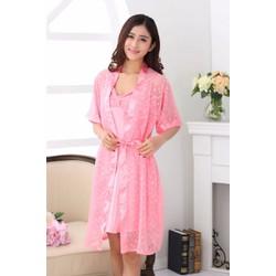 Đầm ngủ họa tiết bi kèm áo choàng