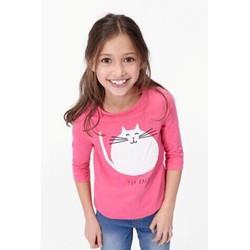 Áo thun bé gái thêu mèo tay lỡ