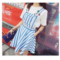 Váy yếm kaki thun sọc xanh