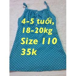 Đầm xanh chấm bi size 110
