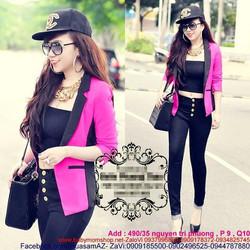 Áo khoác vest hồng phối hông đen sành điệu AKV11