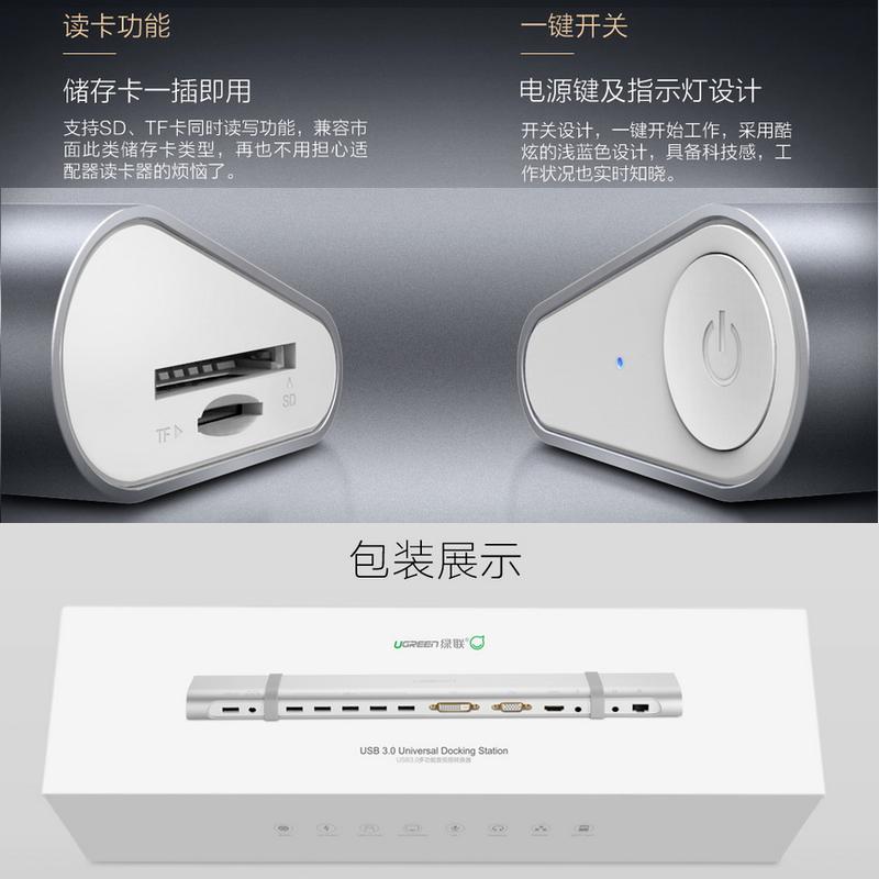 Hub USB 3.0 tích hợp HDMI + DVI + VGA + Audio + Lan Ugreen 40258 4