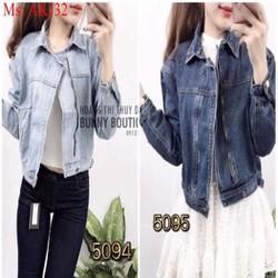 Áo khoác jean nữ dài tay kéo khóa 2 màu cho bạn chọn AKJ32