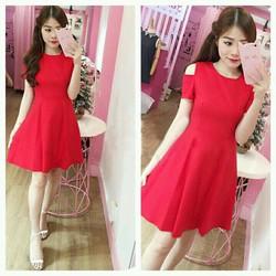 Đầm Xòe Hở Vai Dễ Thương - Đỏ