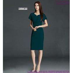 Đầm body ngắn tay cổ xẻ V sành điệu sang trọng DBY8