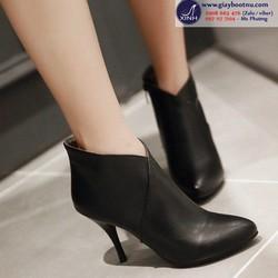 Giày boot nữ cổ ngắn sexy màu đen- GBN2602