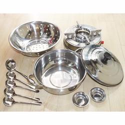 Bộ Nhà Bếp 11 Món Inox Nồi Lẩu, Rổ, Bếp Cồn, Chén, Vá, Muỗng Cao Cấp 3