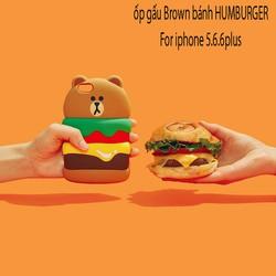 Ốp lưng dẻo thú nổi Bánh Burger gấu Brown cho Iphone - Giá Cực Sốc