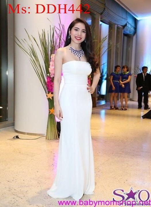 Đầm maxi cúp ngực trắng dự tiệc sang trọng trẻ đẹp DDH442 1