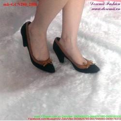 Giày cao gót viền quai đính nơ dễ thương GCN280