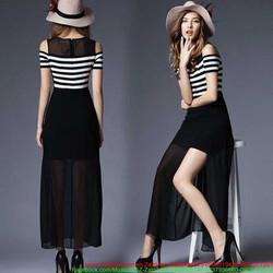 Đầm maxi áo kẻ sọc cutout vai váy xẻ đùi quyến rũ iDMX305