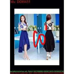 Đầm maxi dự tiệc hoa xinh đẹp phối màu nổi bật DDH455