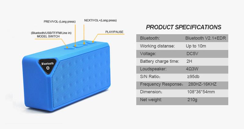Loa Bluetooth X3 dùng cho điện thoại, máy tính 11