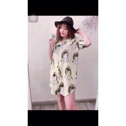 Đầm suông họa tiết cô gái sành điệu DMYL01