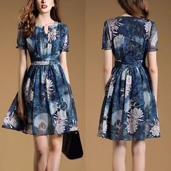 Đầm xòe voan bông sen xanh BD192 - HÀNG NHẬP HQ CAO CẤP Y HÌNH
