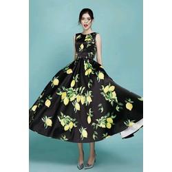 Đầm Xòe Vintage Sát Nách Họa Tiết Hoa Chanh Cao Cấp
