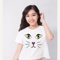 Áo thun croptop họa tiết mặt mèo