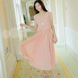 Đầm maxi voan xếp ly đính kim sa đáng yêu nữ tính màu hồng