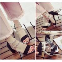 Giày Gót vuông 2 dây bạc