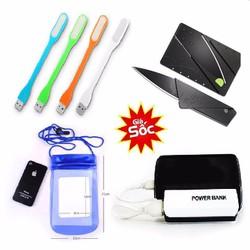 Combo 4 sản phẩm Túi chống nước Pin dự phòng Dao ATM và đèn Led USB
