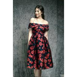 Đầm Xòe Trễ Vai Dáng Vintage Hoa Đỏ Cao Cấp