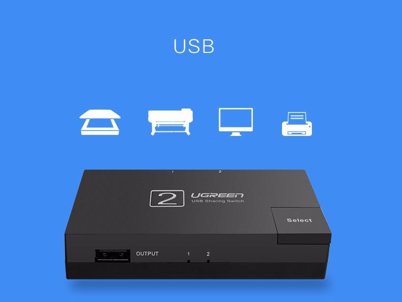 Bộ chia sẻ máy in qua cổng USB 2.0 chính hãng Ugreen - 30345 5