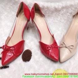 Giày cao gót mũi nhọn có nơ bọc viền nhựa thời trang công sở GC127