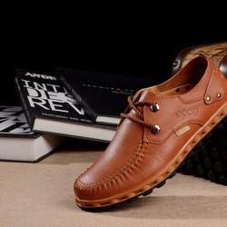 Giày da ecco công sở nam màu nâu chất liệu mềm