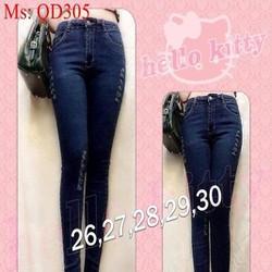 Quần jean nữ lưng cao dài kiểu dáng ôm xước kẻ sành điệu QD305