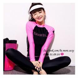 Đồ bơi dài tay Hàn Quốc áo đen tay hồng