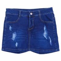 Quần Short Jeans Giả Váy Cào Rách Nữ Màu Xanh Đậm