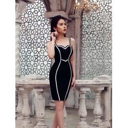 Đầm 2 dây ôm body thiết kế đen viền trắng tuyệt đẹp M3985