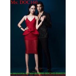 Đầm body dự tiệc 2 dây vạt bầu màu đỏ sang trọng quyến rũ DOC160