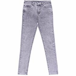Quần Jeans Dài Ống Trơn Cào Xước Nữ Màu Xám Nhạt
