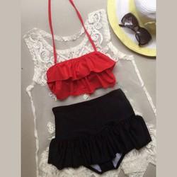Bộ Bikini Áo Bèo Đỏ Chân Váy Evabkn88