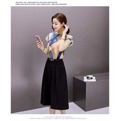Set bộ quần ống rộng phối áo voan họa tiết 3d - CAM KẾT Y HÌNH