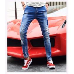 Quần jeans nam vá mài xước nam tính